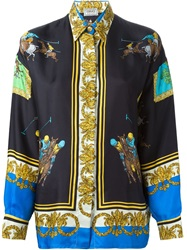 Versace Vintage Polo Print Baroque Shirt Black