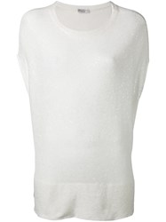 Brunello Cucinelli Sequin Embellished Knitted Top White