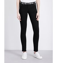 Kenzo Brand Logo Mid Rise Stretch Denim Jeans Black