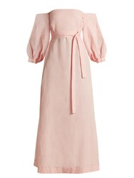 Lisa Marie Fernandez Balloon Sleeve Off The Shoulder Linen Dress Light Pink