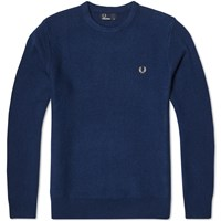 Fred Perry Textured Crew Neck Sweater Blue