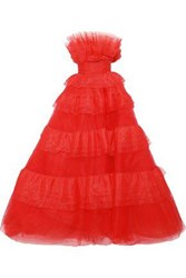 Monique Lhuillier Woman Strapless Bead Embellished Tulle And Organza Gown Tomato Red