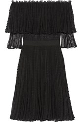 Alexander Mcqueen Off The Shoulder Ruffled Knitted Dress Black