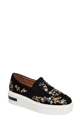 Linea Paolo Women's Fairfax Ii Embroidered Platform Sneaker Black Embroidery Suede