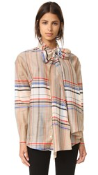 Suno Plaid Tie Neck Shirt Cream Blue Plaid