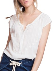 Plenty By Tracy Reese Embroidered Henley Tee Ivory