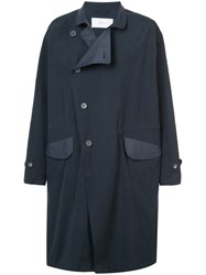 Julien David Double Breasted Coat Cotton Nylon Polyester L Blue