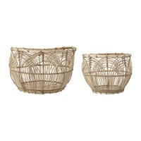 Bloomingville Round Rattan Baskets Set Of 2 Natural
