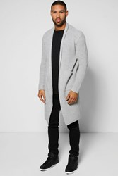 Boohoo Festival Cardigan In Fisherman Knit Grey