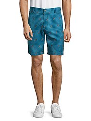 Robert Graham Lizards Printed Checked Shorts Turquoise