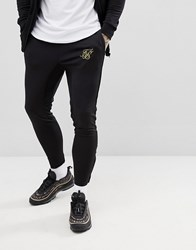 Sik Silk Siksilk Skinny Joggers In Black With Gold Logo