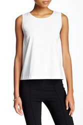 1.State Sleeveless Cross Back Blouse White