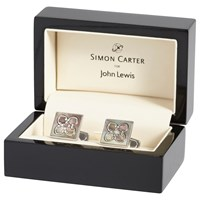 Simon Carter For John Lewis Archive Mother Of Pearl Tile Cufflinks Grey