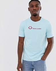 Hymn Smile Embroidered T Shirt Blue
