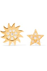 Aamaya By Priyanka Sun And Star Gold Plated Topaz Earrings
