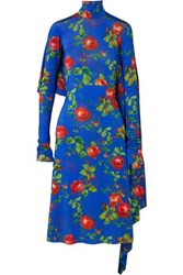Vetements Open Back Draped Floral Print Stretch Crepe Dress Blue
