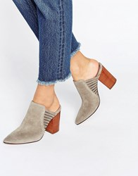 Hudson London Audny Taupe Suede Heeled Mules Taupe Suede Beige