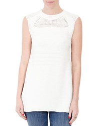 Three Dots Solid Sleeveless Top White