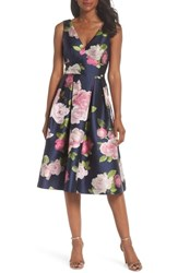 Eliza J Sleeveless Floral Print Fit And Flare Dress Navy
