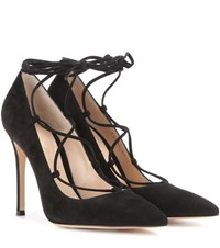 Gianvito Rossi Femi Lace Up Suede Pumps Black