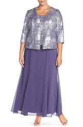 Plus Size Women's Alex Evenings Mock Two Piece. Gown And Jacket