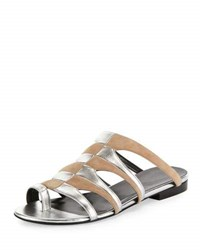 Pierre Hardy Parade Bicolor Toe Ring Mule Sandal Nude Silver Nude Silver