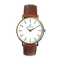 Nibello Watches Gold And White Mens Watch With Brown Strap