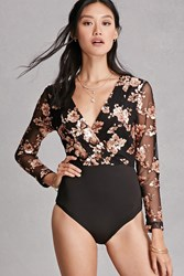 Forever 21 Girl In Mind Sequin Bodysuit Black Rose Gold
