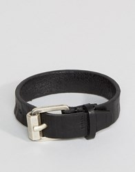 Diesel A Roundd Leather Cuff Buckle Bracelet In Black Black
