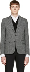 Saint Laurent Black And White Wool Blazer