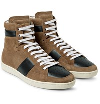 Saint Laurent Sl10 Leather Panelled Suede High Top Sneakers Mushroom