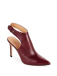 Halston Point Toe Round Toe Slingback Booties Burgundy
