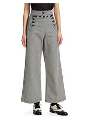 Christian Dior Striped Denim Sailor Pants Blue White