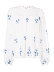 Endless Rose Long Sleeve Embroidered Detail Blouse White