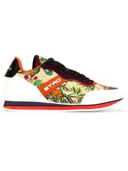 Etro Floral Print Panelled Sneakers Multicolour