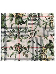Burberry Floral Checked Print Scarf Green