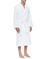 Derek Rose Terry Cloth Robe White Pink