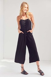 Silence And Noise Button Front Gauzy Halter Jumpsuit Black