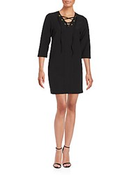 Kensie V Neck Three Quarter Sleeve Dress Black