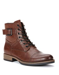 Calvin Klein Roberts Leather Lace Up Boots Brown