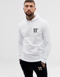 11 Degrees Hoodie In White With Logo