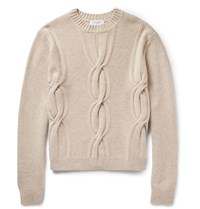 Enlist Enlit Cable Knit Merino Wool Weater And Sand