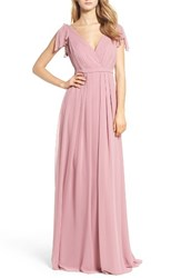 Monique Lhuillier Bridesmaids Women's Sleeveless Deep V Neck Chiffon Gown Cerise