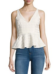 Prose And Poetry Textured Peplum Top Basket Ivory