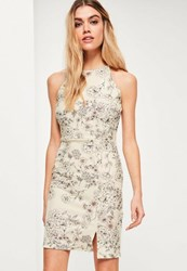 Missguided Cream Crepe Floral 90'S Neck Bodycon Dress