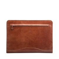 Maxwell Scott Bags Luxury Italian Leather A4 Ring Binder Folder Veroli Chestnut Tan Brown