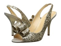 Kate Spade Charm Heel Platinum Glitter Gold Liquid Suede High Heels