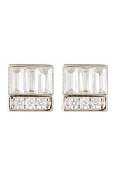 Nordstrom Rack Sterling Silver Triple Cz Baguette Block Stud Earrings Metallic