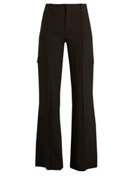 Chloe Wide Leg Crepe Trousers Black