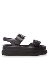 Stella Mccartney Submerge Faux Leather Flatform Sandals Black
